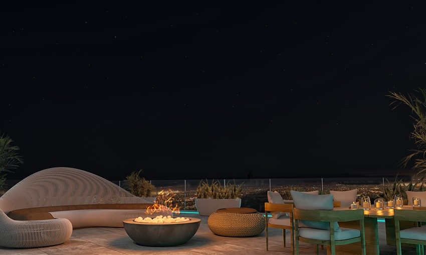 penthouse roof garden-night view